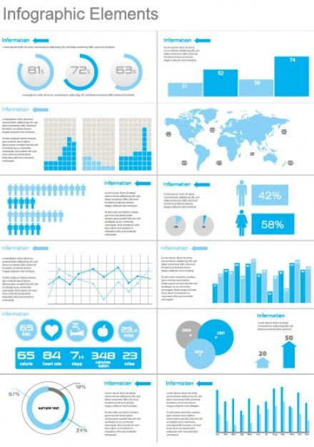 infographics elements in blue