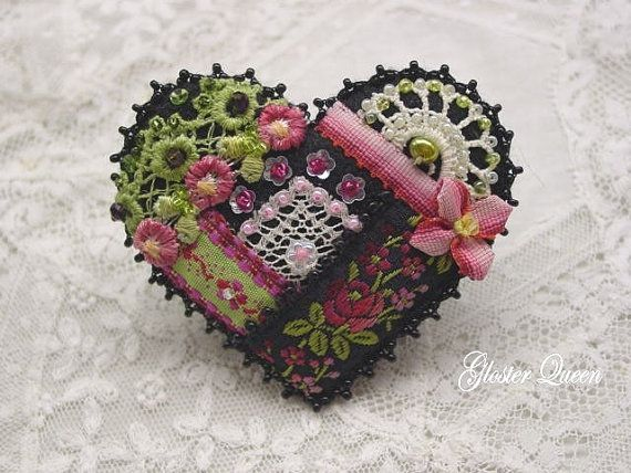 Black Crazy Quilt Pin By Glosterqueen On Etsy Fiber Art