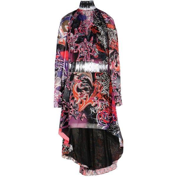 Versace Collection Long Dress (€805) ❤ liked on Polyvore featuring dresses, fuchsia, fuschia dresses, sleeved dresses, fuchsia long dress, long sleeve dress and fuchsia dress