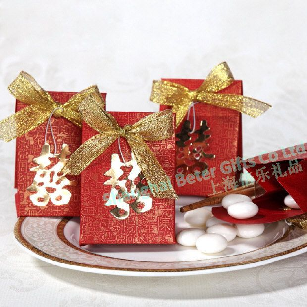 120pcs Chinese Double Happiness Wedding Favor Box TH008 candy bags and wedding gift box