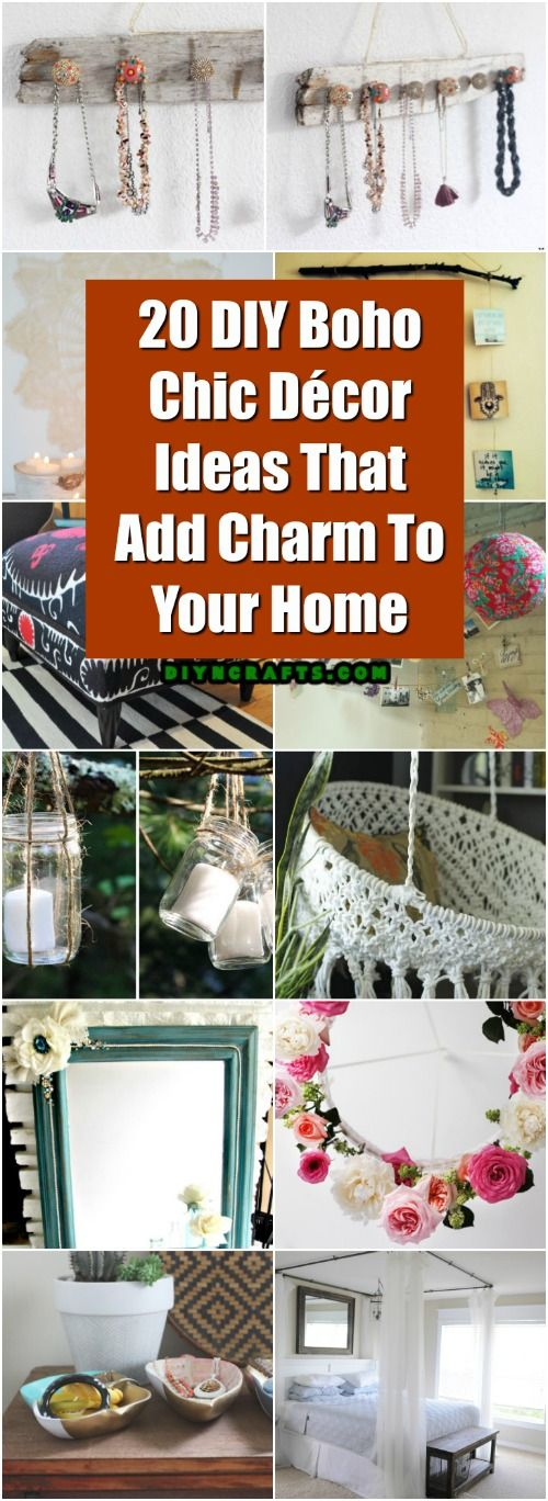 20 DIY Boho Chic Decor Ideas That Add Charm To Your Home #decorating #diy #decor #bohochic via @vanessacrafting