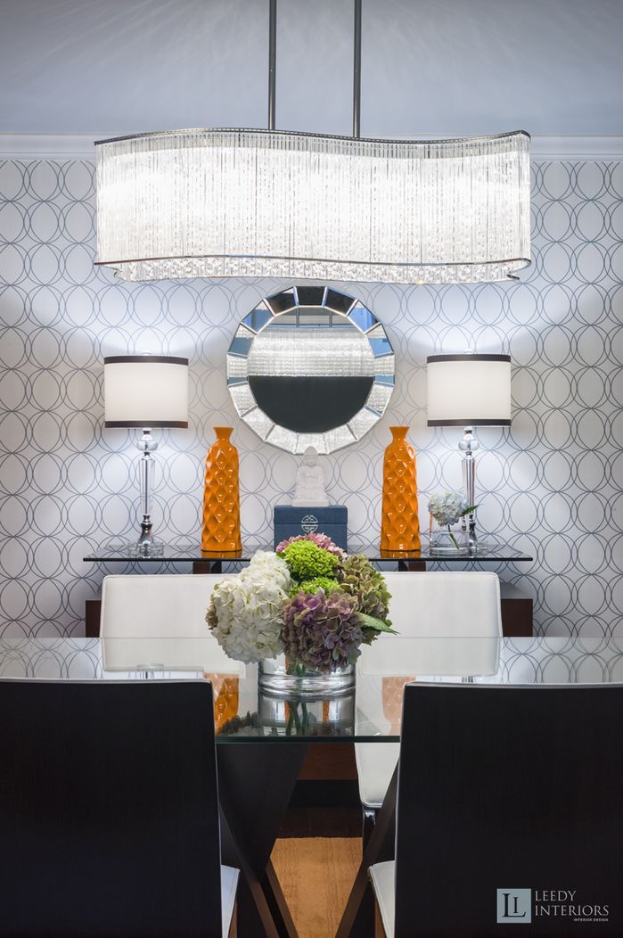 Gorgeous geometric touches in this dining room. Design by Leedy Interiors.