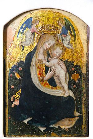 The Madonna of the Quail (Madonna della Quaglia) generally attributed to Pisanello,  circa 1420