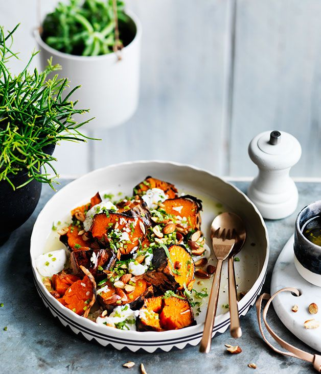 Charred sweet potato, goat's curd and almonds recipe from Frank restaurant in Hobart, Tasmania.