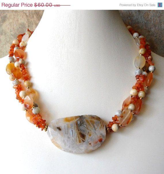 like design... would use different stones Orange Carnelian and Agate Handmade Jewellery. $54.00, via Etsy.