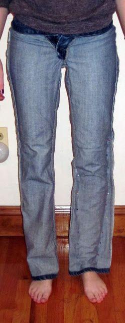 The Crafty Novice: DIY Jeans Refashion: Flares to Straight Leg
