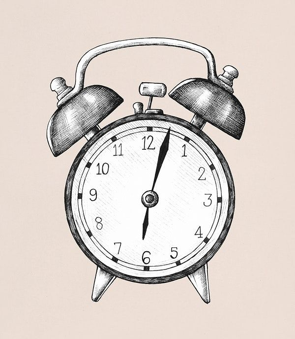 Hand Drawn Alarm Clock Illustration Free Image By Rawpixel Com How To Draw Hands Clock Clock Drawings