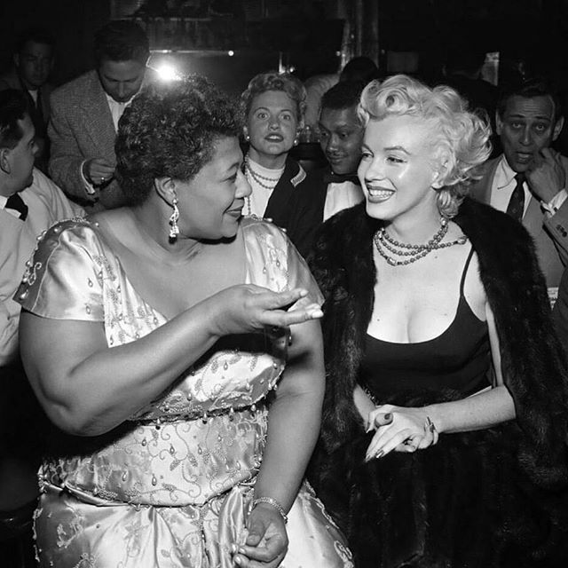 Ella Fitzgerald, 1917 - 1996  In the early 1950's Ella's performances were confined to modest establishments as the larger, higher paying venues refused to book her due to the racial prejudices of the time. However, Ella had made a fan of the legendary Marilyn Monroe. Marilyn called the popular Hollywood venue Mocambo and demanded Ella play there. Frank Sinatra had made his debut at the Mocambo in 1943 and it was frequented by stars such as Humphrey Bogart, Clark Gable and Lauren Bacall…