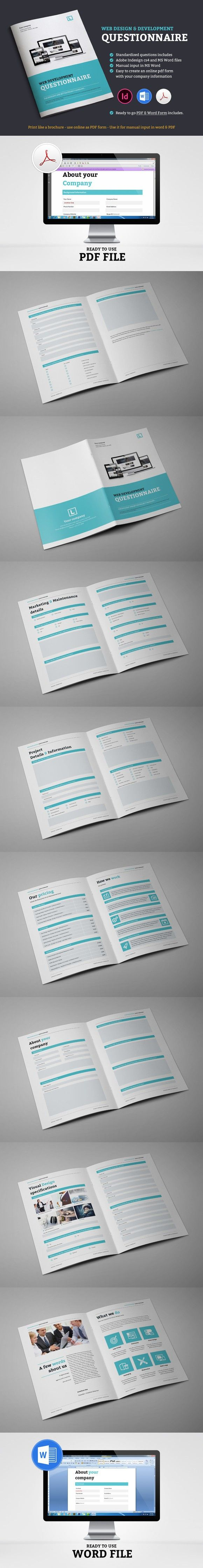 Web Design Questionnaire Stationery Templates 1200