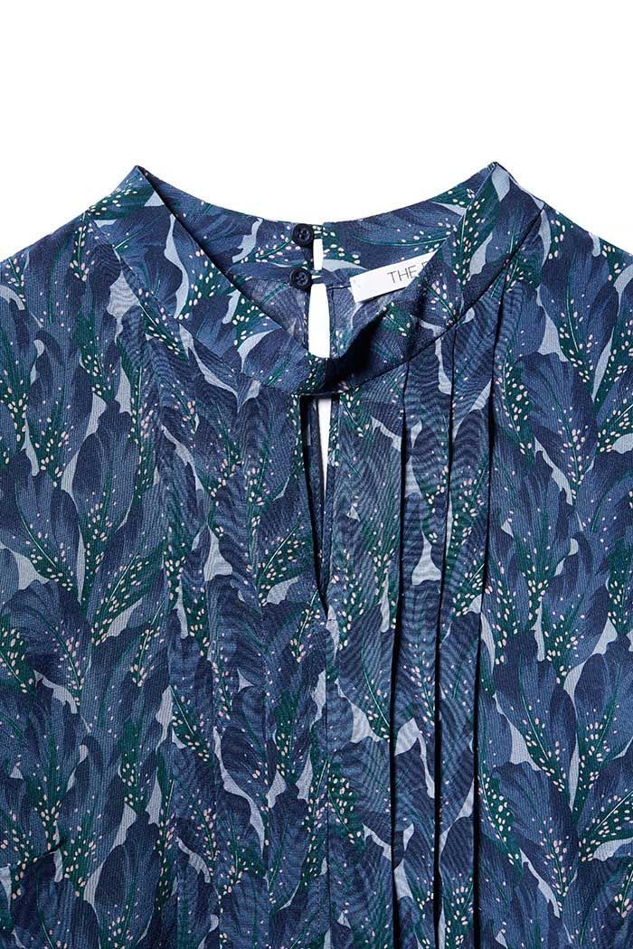 Eastleigh Blouse Blue Leaf Printed Silk - The Fold | thefoldlondon.com