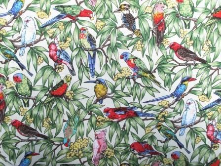 Fabric Godmother - Birds in Paradise Cotton. This would make an amazing gathered skirt.