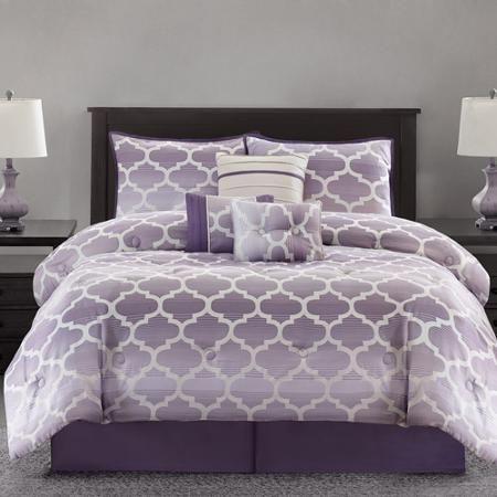 Purple Geometric Print Ombre Fretwork Bedding Set - Purple Bedroom Ideas #purple #bedding