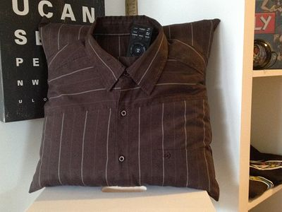 Mens Recycled Retro Shirt. Cushion Cover @   www.couchcandy.com.au