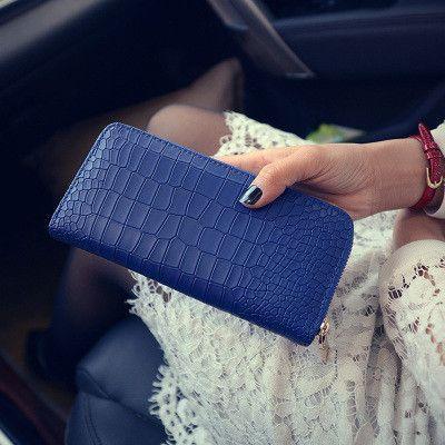 New Women Purses Vintage Alligator Wallet Zipper Clutch Bag Fashion Designer Female Leather Wallets Famous Brand Purse