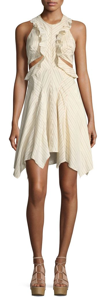 On SALE at 40% OFF! Striped Ruffle Cutout Dress by Isabel Marant. Isabel Marant striped minidress. Crew neckline; racerback. Sleeveless; cut-in shoulders. Ruffle trim at bodice. Cutou...