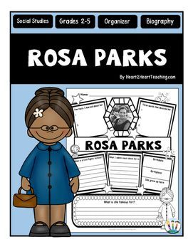 "Rosa Parks : Rosa Parks Graphic Organizer : Is your class learning about one of the most influential women in American History? This custom-created Rosa Parks organizer may be just what you're looking for!Rosa Parks was an African-American Civil Rights activist, whom the United States Congress called ""The first lady of civil rights movement."" She inspired people everywhere to stand up for their civil rights!"