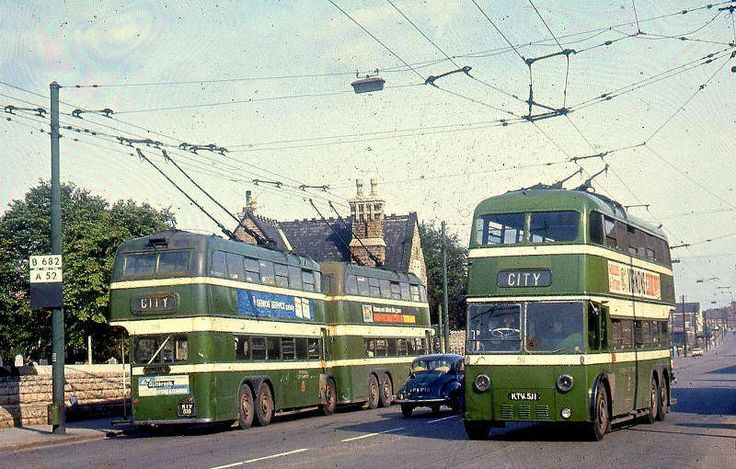 Nottingham Trolleybuses at the 36 terminus on Nottingham Road in Basford, about 1966.