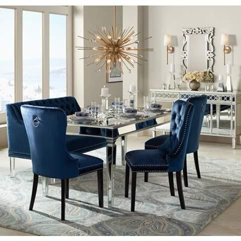 The Veronica Mirrored Dining Table & Veronica Mirrored Dining Table | kitchen | Dining room blue Dining ...
