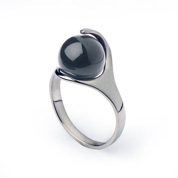 Silver Hematite Ring, size 9