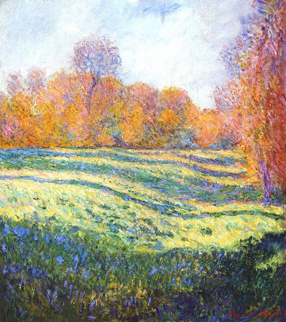 Meadow at Giverny - Claude Monet, 1886. Claude Monet (14 November 1840 – 5 December 1926) was a founder of French impressionist painting.