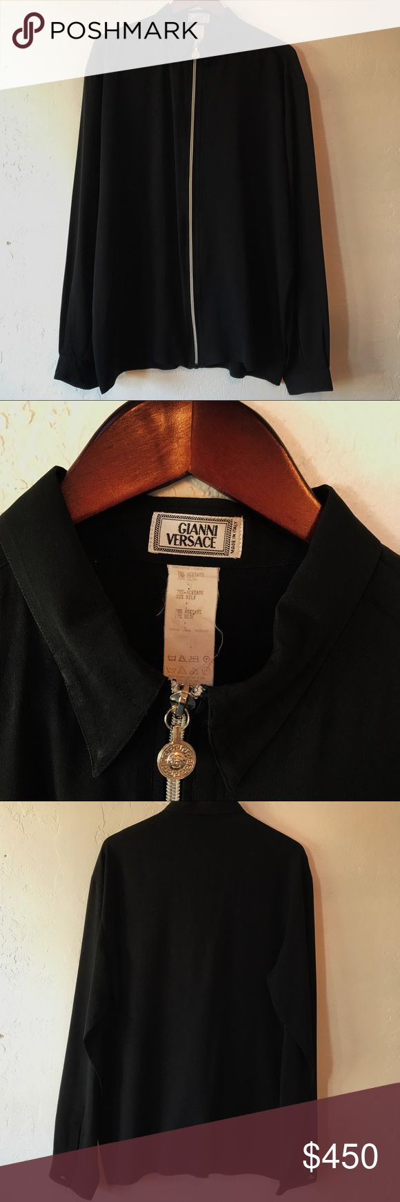 Vintage Gianni Versace Shirt Vintage Gianni Versace long sleeve shirt with zipper up the front. Great condition. Rare find. Best offer will also be considered. Versace Shirts Dress Shirts