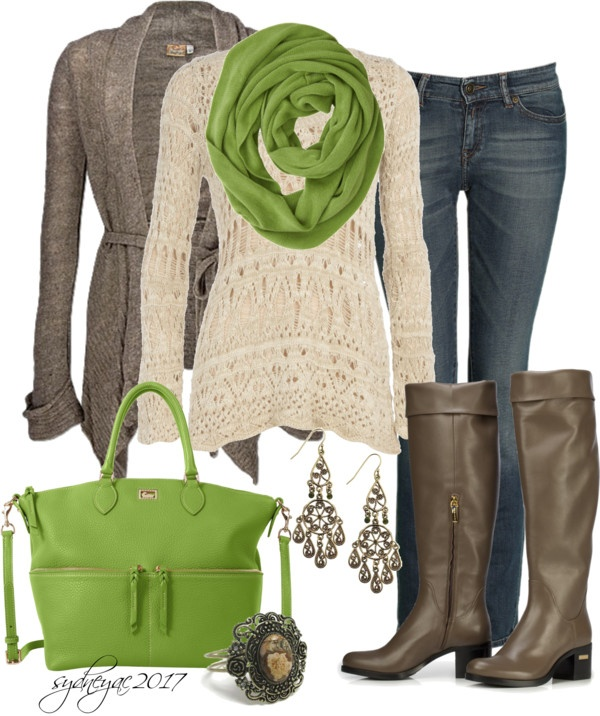 """""""Green Bag"""" by sydneyac2017 ❤ liked on Polyvore....why do I like cowls and scarves so much?"""