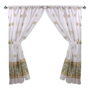 """Faux Marble & Tile Pattern 34""""x54"""" Fabric Window Curtain with Tie-Backs, Jade"""