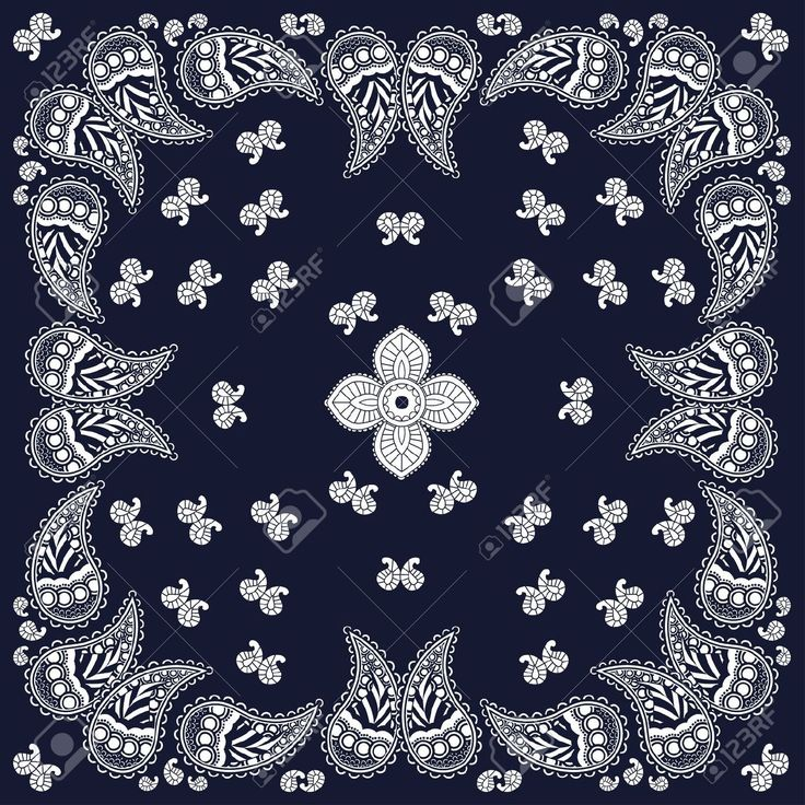 Navy Paisley Bandana Design Royalty Free Cliparts, Vectors, And ...