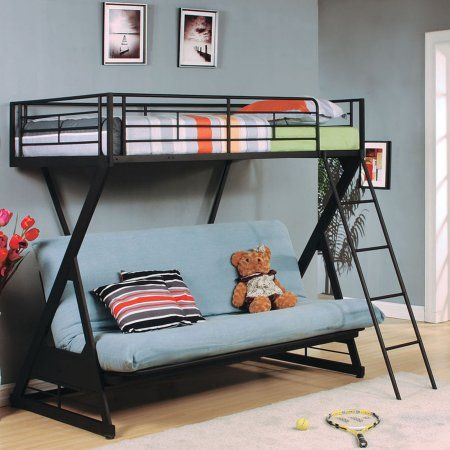 Zazie Twin Over Full Futon Metal Bunk Bed Sandy Black Walmart Com Beds With Stairs