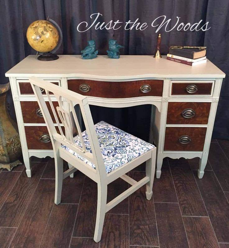 refinished desk, painted desk, burl wood, burl wood desk, burled wood, burl wood…