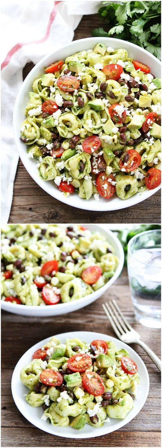 Mexican Tortellini Salad Recipe on http://twopeasandtheirpod.com This salad is always a favorite at potlucks and parties!