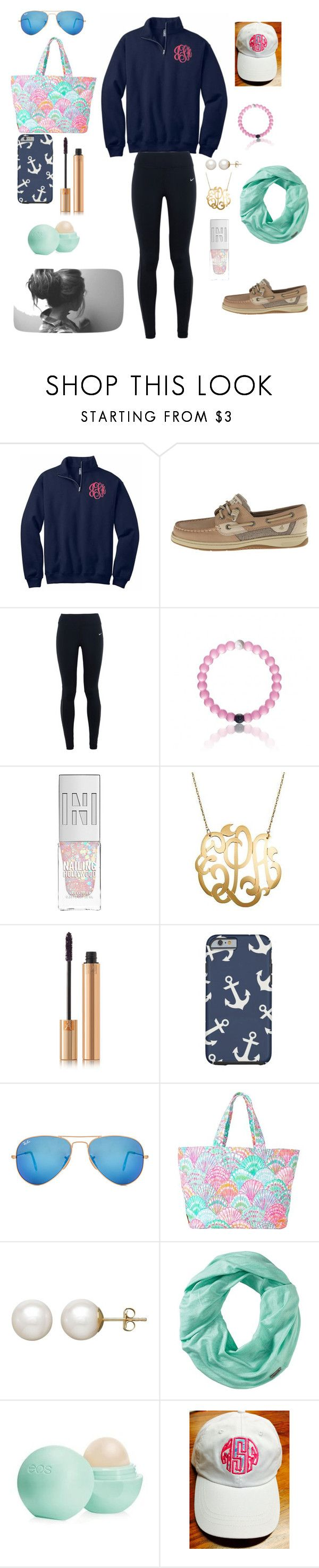 """P is for PREPPY"" by logoloops23 ❤ liked on Polyvore featuring Sperry, NIKE, Yves Saint Laurent, Ray-Ban, Lilly Pulitzer, Honora, Smartwool and Eos"