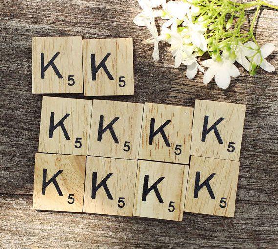"ONE TILE LETTER ""K"" - wooden Scrabble Tiles letters - Magnets Pendants Craft by ElvesNFairies on Etsy"