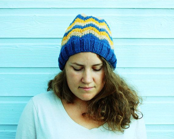 Warm winter hat  Chevron fair isle knit by FindingNorth on Etsy