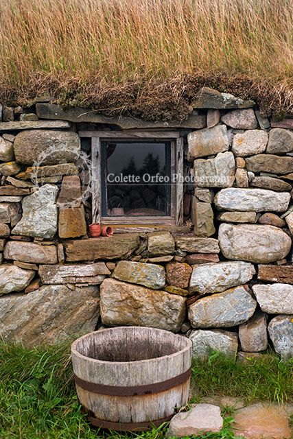 Rustic Wall Photography Backdrop. Rustic stone wall of a thatch roof house taken in Iona, NS. To order backdrop visit www.backdropscanada.ca