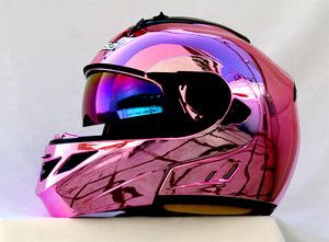 pink motorcycle | MASEI-822-PINK-CHROME-MOTORCYCLE-BIKE-ARAI-SHOEI-DOT-MODULAR-HELMET ...