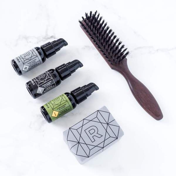 Ensemble de luxe pour la barbe Rituels : 3 huiles, shampoing et brosse à barbe