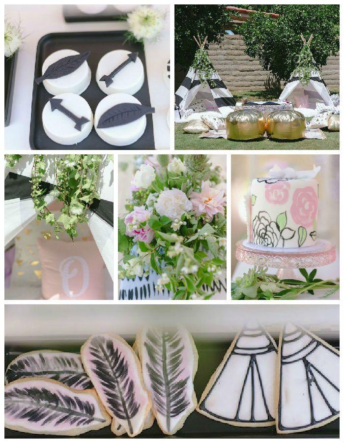 Love the feather and teepee cookies! Wild & Free Bohemian 1st Birthday Party via Kara's Party Ideas KarasPartyIdeas.com