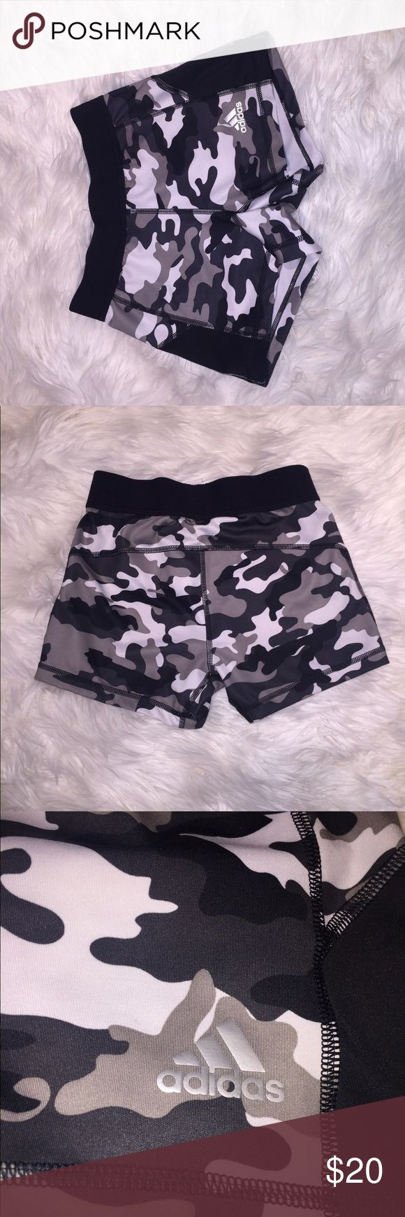 Adidas Running Shorts Adidas Camo dry fit running shorts. Never worn because they were too small on me. They fit snug. Never washed. Excellent condition. Adidas Shorts