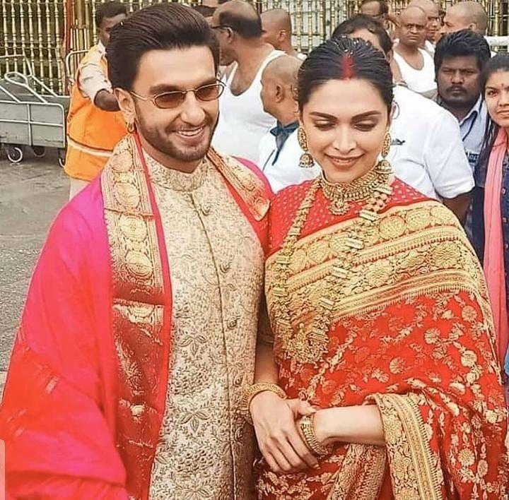 Deepika Padukone And Ranveer Singh Look Smitten In Love As They Seek Blessings At Tirupati With Family On First Anniversary Hungryboo Indian Wedding Outfits Deepika Padukone Bollywood Wedding