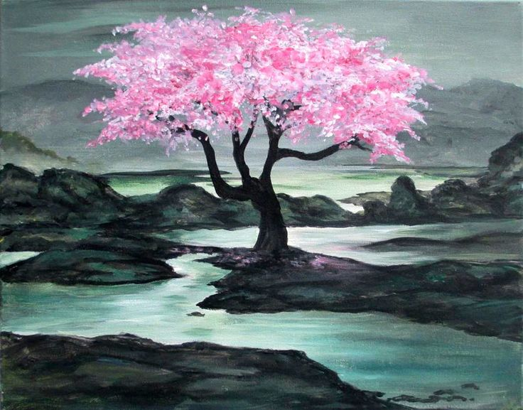 Pink Blossom 7 8 15 In 2019 Watercolor Art Painting