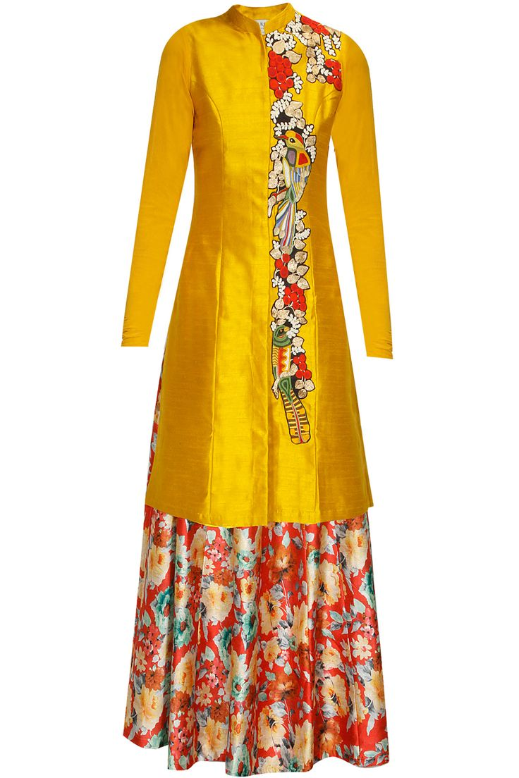 Yellow bird embroidered achkan kurta with red floral print skirt lehenga available only at Pernia's pop up shop.