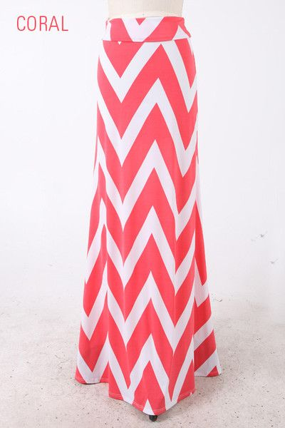 Coral Chevron Maxi Skirt - great summer party skirt