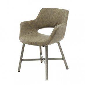 Tupps - spisebordsstol i stål og gråt læder