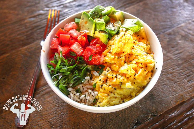 Breakfast: Brown Rice Bowl with Scrambled Eggs, Avocado ...