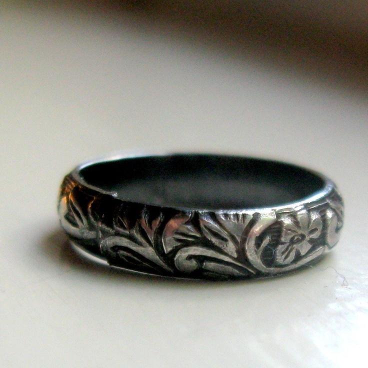 Dark sterling rustic renaissance band ring  silver. $50.00, via Etsy.