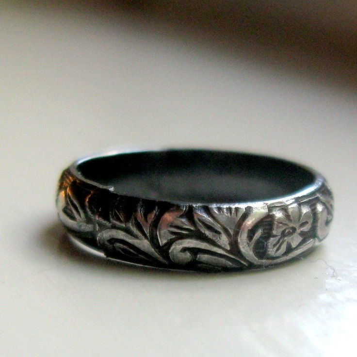 Dark sterling rustic renaissance band ring by tinahdee on Etsy