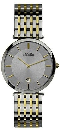Michel Herbelin Mens Silver Dial Two Tone Extra Flat Classic Bracelet Watch 414/BT12