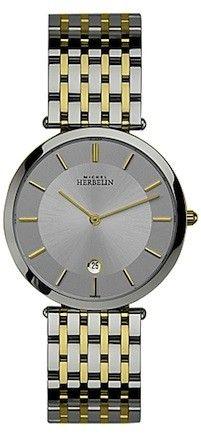 Michel Herbelin Mens Silver Dial Two Tone Extra Flat Classic Bracelet Watch 414/BT12
