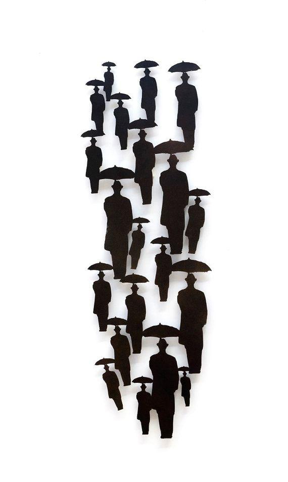 Świąteczna wyprzedaż metalu rzeźba, Duża rzeźba ŚCIANY, Deszcz, zima, Parasol, Uri Dushy, Sztuka izraelska  zł 3,672.58 zł